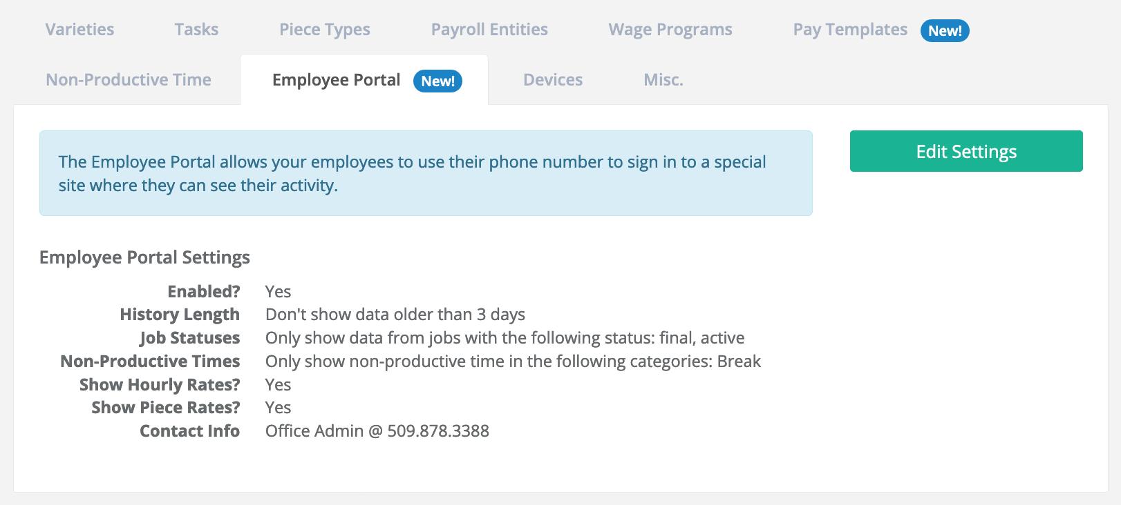 Employee Portal Admin Screen