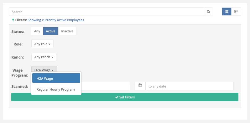 Wage Program Filtering