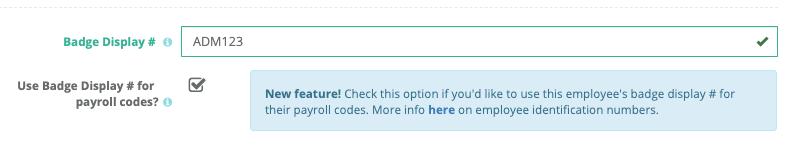 Copy badge display id to payroll codes